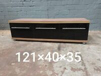 Ex Display Hollywood Walnut and High Gloss TV Unit - Minor Cosmetic Damage (was £220)