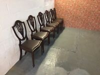 Set of six vintage/retro inlaid Mahogany shield back dining chairs with drop in seats