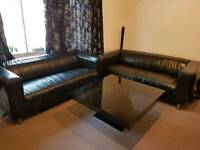2x 3 Seater Black Leather Sofas