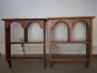 Antique pine shelf units
