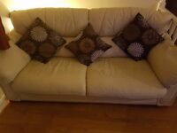 3 seater cream leather sofa with chair