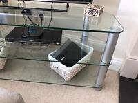 Large Clear Glass TV Unit