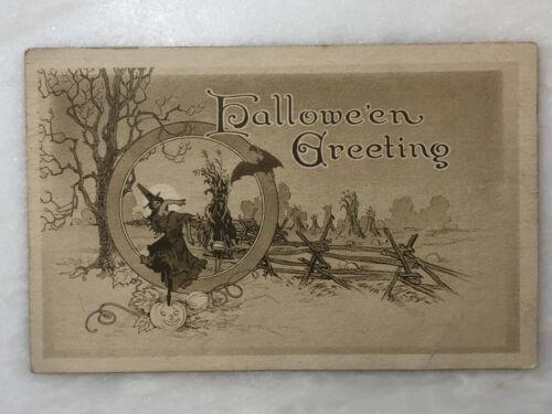 1912 HALLOWEEN Greeting CORN Shocks WITCH  Bat JOL Antique POSTCARD