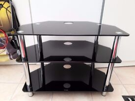 Black Glass TV Stand 70cm long