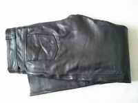 Black leather motorcycle leather jeans, mens/womens