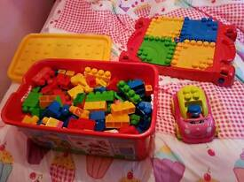 Mega Blocks Complete with table, car and storage box