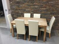 Oak block dining table & 6 chairs
