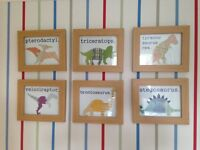 Boys dinosaur room Laura Ashley blackout lined curtains, rug, lampshade & framed Etsy prints
