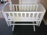 Troll Nicole Panel Glider Swinging White Crib with Mattress & Fitted Sheets