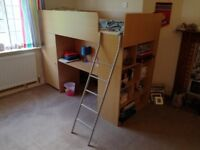 Two kids beds with built-in desk, cupboard, shelves & storage space - £100 each or £175 for the pair