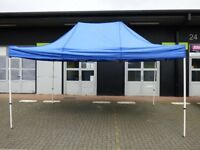 6M X 3M POP UP METAL GAZEBO WITH BLUE WATERPROOF CANVAS ROOF AND CARRY BAG