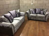 Ex Display Silver Crush Velvet 3+2. 3 Seater Approx 212cm & 2 Seater Approx 183cm. Free Delivery