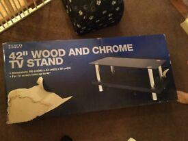 "Tesco 42"" wood and chrome tv stand"