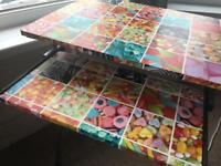 Vintage sweets covered desk with pull out shelf