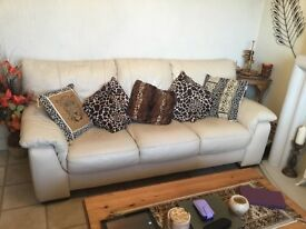 3-piece leather suite, in cream, for sale, comprising 3-seat and 2-seat settees and a large pouffe