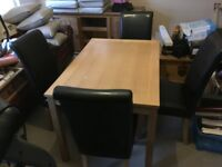 SMALL WOODEN TABLE AND FOUR CHAIRS