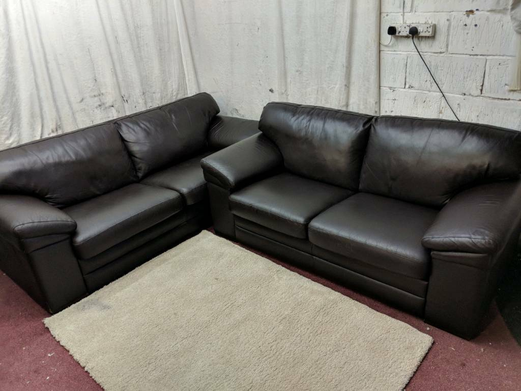 Brown Italian Leather 3 2 Seater Sofas Good Condition