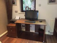 Mahogany office desk and matching 2 draw filing cabinet