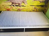 Ikea Flaxa single bed with 2 storage drawers & separate storage headboard - sprung mattress included