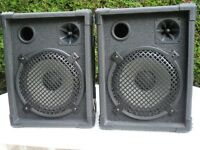 """PAIR OF 200 WATT 10"""" + HORN SPEAKERS, IDEAL FOR TRANSPORT FOR SOMEONE WITH LIMITED SPACE IN A CAR"""