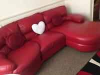 Red DFS leather sofa