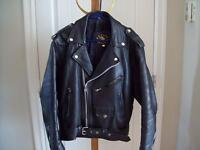 Motorcycle Leather Jacket Mens' Size 46