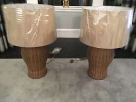 BRAND NEW IN BOX- Pair of Huge Rattan Table Lamps