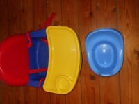 baby high chair low chair and potty