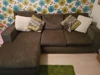Corner sofa, chair and storage pouffe for sale