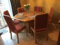 South African Hexagonal Wooden Oak Dining Table and Chairs