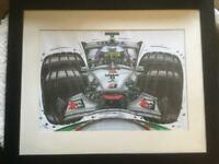 A framed caricature print of David Coulthard driving his F1 McLaren., used for sale  Bournemouth, Dorset