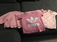 3-6 months Adidas top and hand knitted cardigan