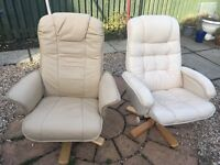 2 leather swivel chairs for sale