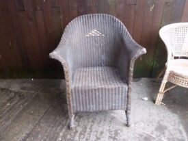 Dark Wicker Curved Chair Delivery Available