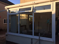 UPVC Dismantled Conservatory Window Frames & Glass with all glass removed for safe keeping