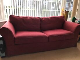 Dark red sofa bed