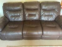 Leather Recliner 3 Seat - Brown
