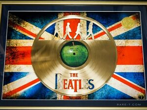 OLD 'BEATLES-ABBEY ROAD WITH UK FLAG' CUSTOM FRAME