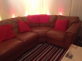Leather Corner Sofa in Terracotta in excellent condition with matching storage pouffe