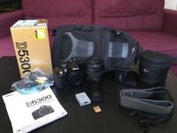 Nikon D5300 DSLR camera, 18-55mm Lens, Lowepro bag and accessories