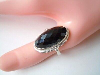 Geprüfter Silber Ring ohne Stempel mit großem facettierten Onyx 7,9 g /RG 58