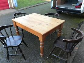 Pine table and 4 chairs can deliver