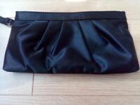 Subtle and stylish evening handbag, black satin