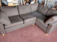 Wesley - Barrel brown corner sofa for sale. Good condition