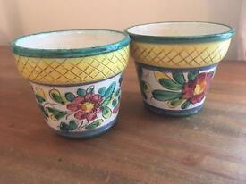 2 small porcelain painted pots/ planters