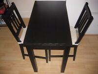 IKEA - BJURSTA Extendable Table + Two STEFAN Chairs, Brown-Black + Chair Pads + Table Cloth