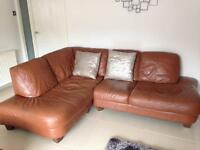 Leather corner sofa with matching chair & footstool