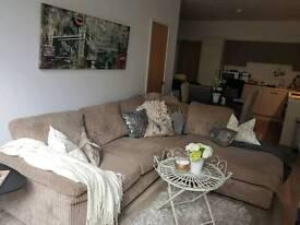 Jumbo cord mink corner sofa