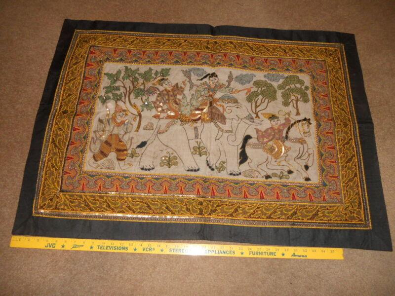 "Kalaga Tapestry Thailand Sequins 42"" X 30"" Square Beautiful #I"