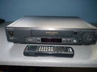 Sony VHS recorder with cassettes, Can be used on any TV with scart connections